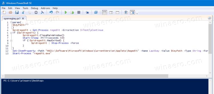 PowerShell Script To Open Registry Key