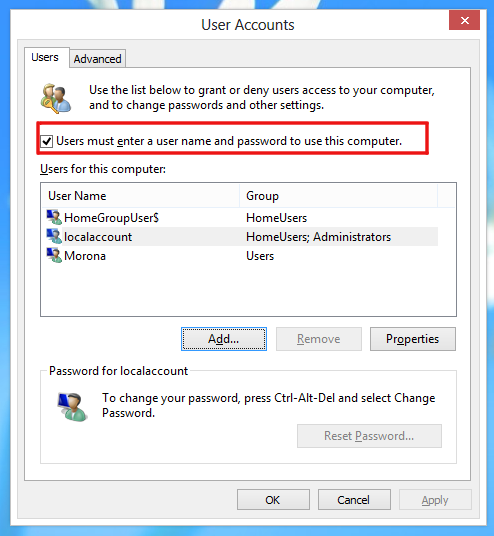 How to prevent Windows 8 from automatically logging in the