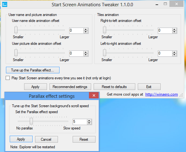 start screen animations tweaker