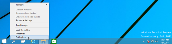 Windows 10 exit explorer taskbar