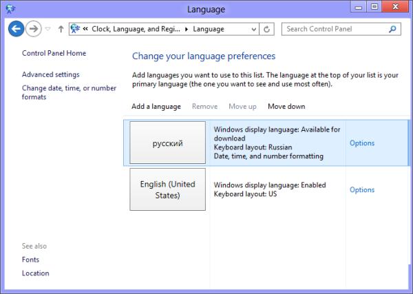 language settings in Windows 8