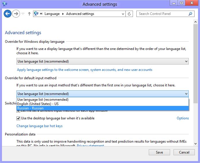 Configuring language settings in Windows 8