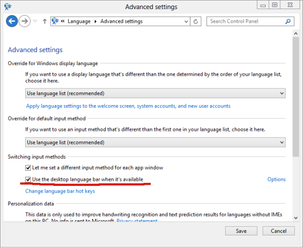 enable language bar