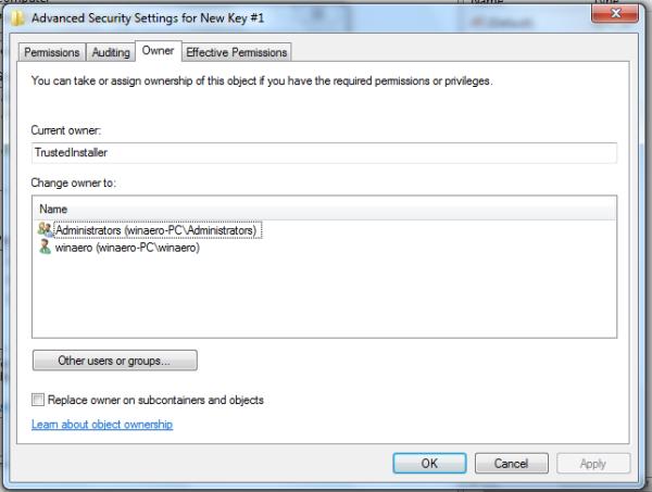 Owner Tab in Windows7