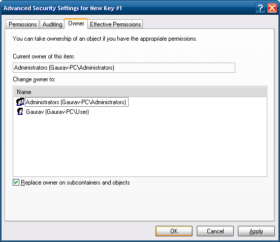 Owner Tab in Windows XP