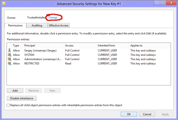 Owner option in Windows 8
