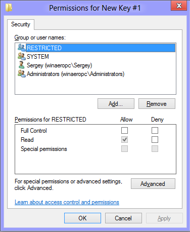 Permissions For Key