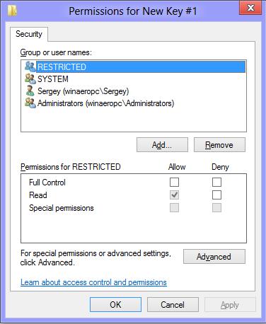 Permissions For Key
