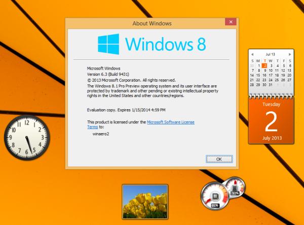 Windows 8.1 gadgets sidebar