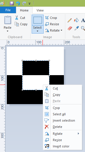 Invert Colors for Selection in Paint