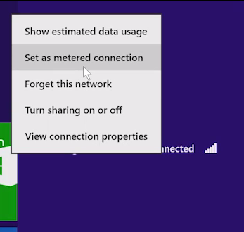 metered connection in windows 8