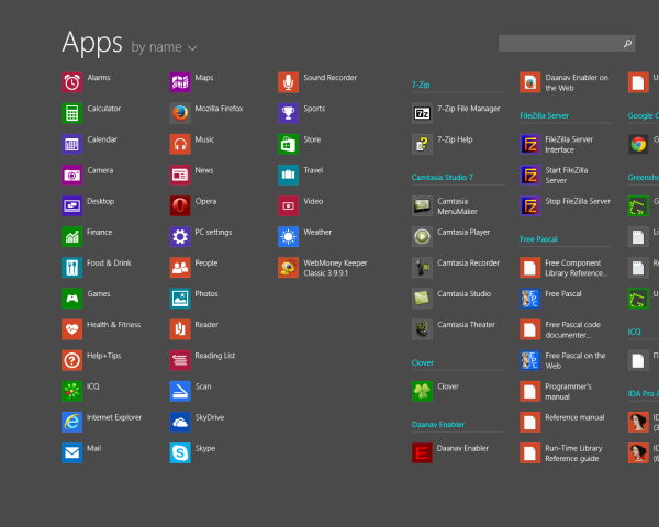 All Apps View of the Start screen