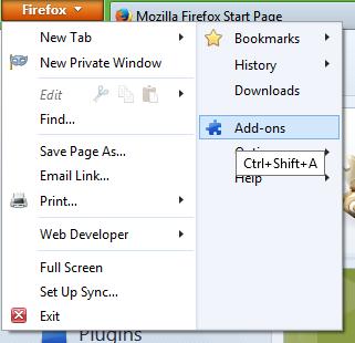 Firefox addons menu item