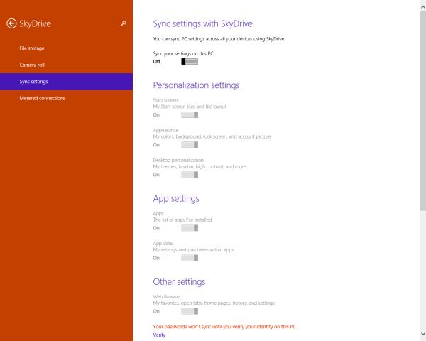 Skydrive sync settings