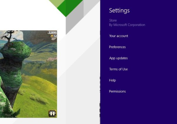 Windows Store Settings