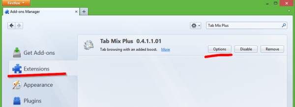 Tab Mix Plus options button