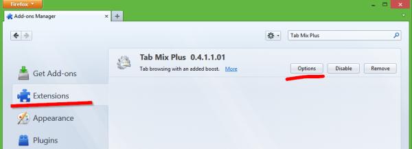 Tab Mix Plus options button