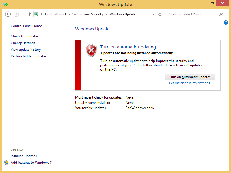 Windows 8 not updating updating component registration