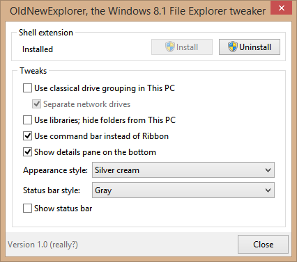Screenshot of OldNewExplorer's configuration window