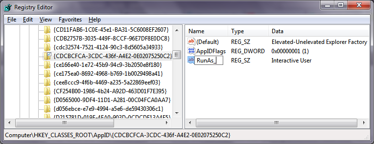 Registry Editor showing the key that prevents Explorer from running as admin