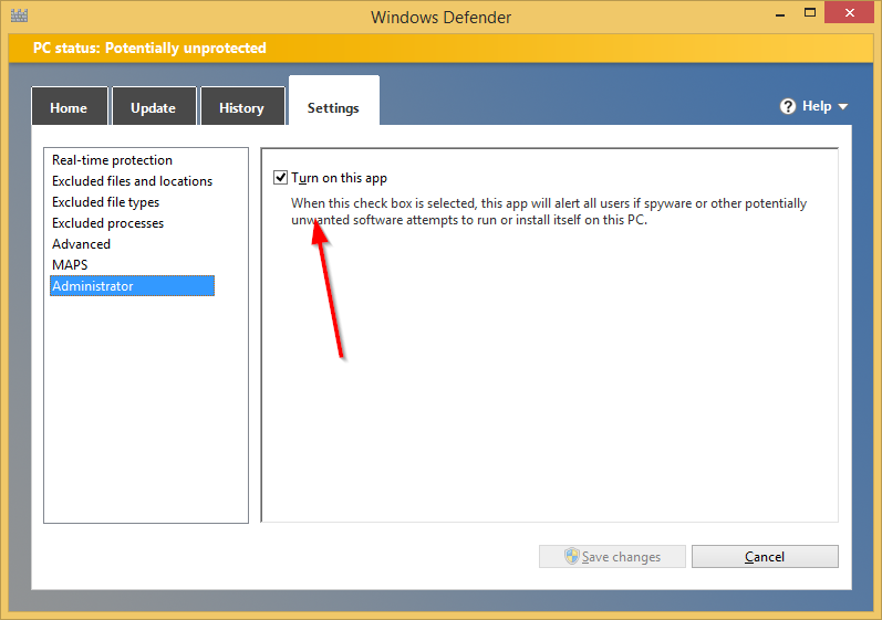 How to disable or enable Windows Defender in Windows 8.1