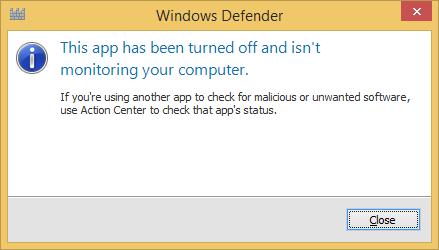 windows defender turn off windows 8