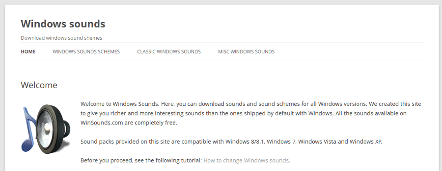 Where to download Windows sounds and sound schemes?