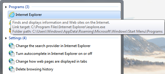 Internet Explorer Tooltip