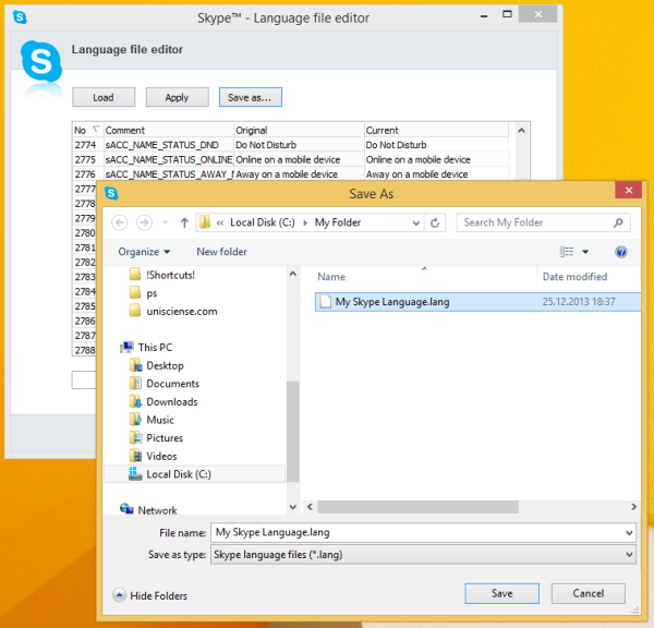 Save Skype Language