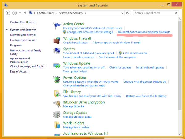 Security Center of Windows 8.1