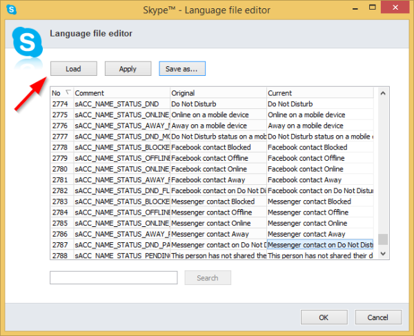 Skype Language file editor Load language