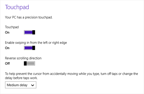 Windows 8.1 Touchpad settings