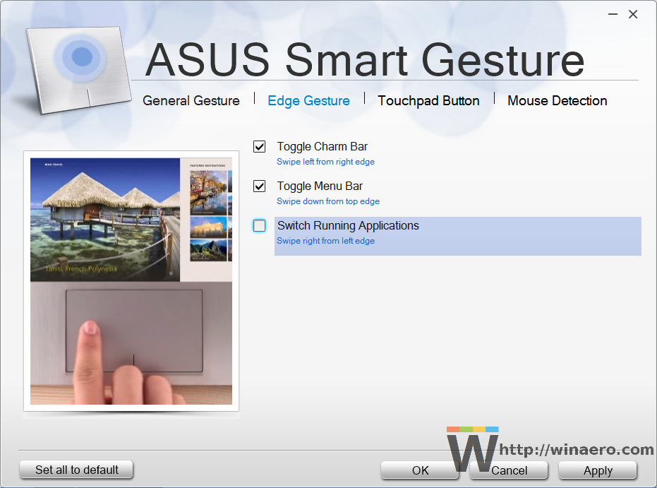 Asus Smart Gesture touchpad settings