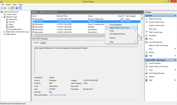 Event Viewer showing all the System events