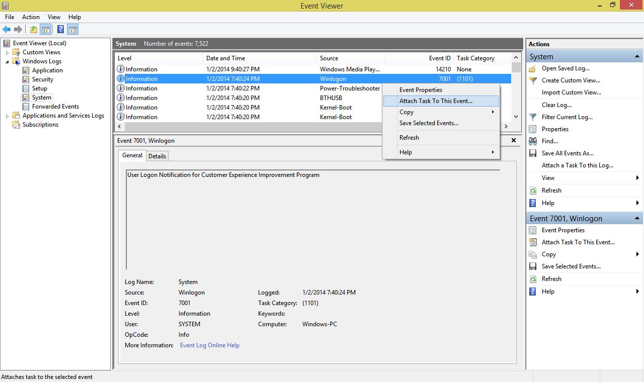 Windows Event Log File Path