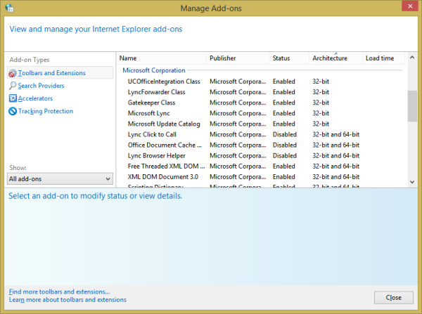IE's Manage Addons dialog