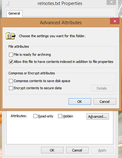 To include or exclude a single file from indexing, check or uncheck its Index attribute