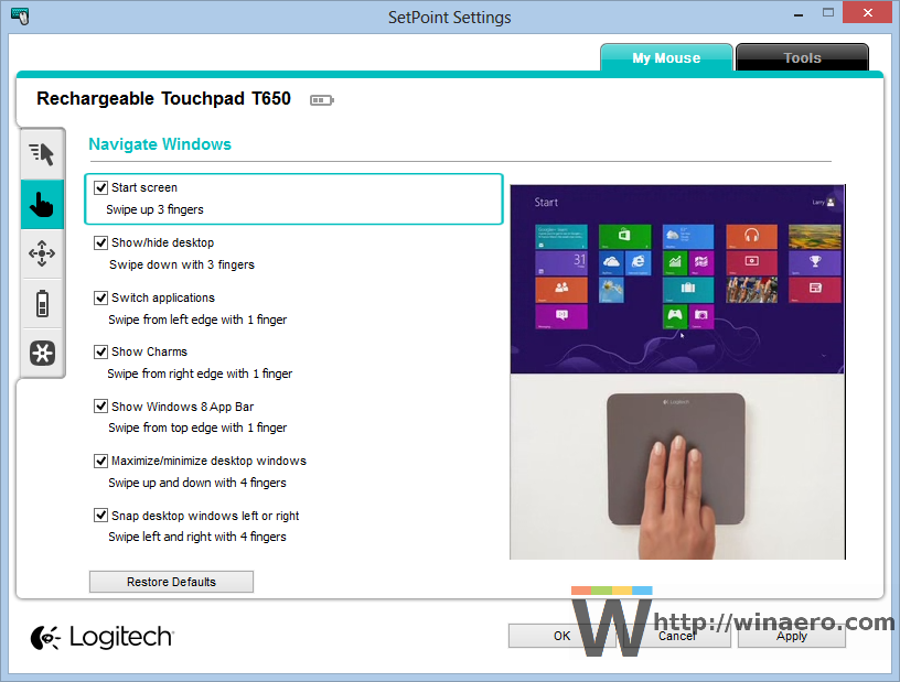 Logitech touchpad settings