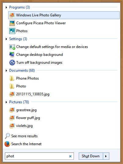 Search programs, apps, settings and files