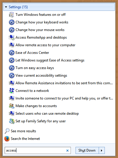 Start Menu searches settings and their keywords