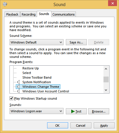 Sounds Control Panel no longer has events for Shutdown, Logon or Logoff