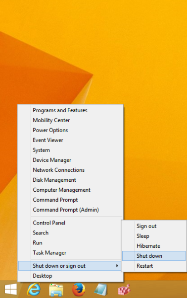 Windows 8.1's Win+X menu