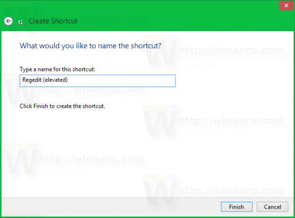 Windows 8 shortcut name regedit elevated