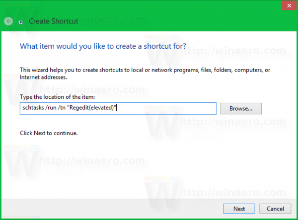 Windows 8 shortcut target