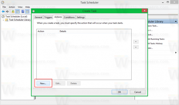 Windows 8 task scheduler create task - actions