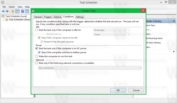 Windows 8 task scheduler create task - conditions ticked
