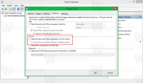 Windows 8 task scheduler create task - conditions unticked