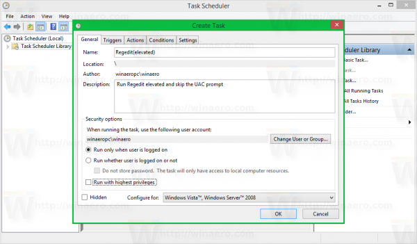 Windows 8 task scheduler create task - general