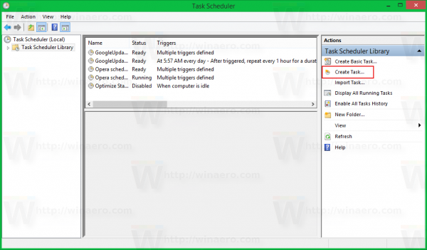 Windows 8 task scheduler create task link