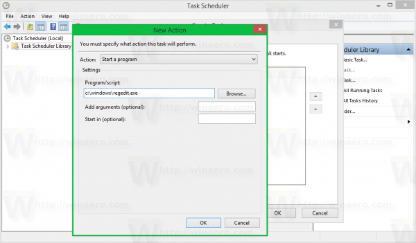 Windows 8 task scheduler create task - new action